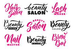 Logo Beauty Salon Lettering Set Calligrafia fatta a mano su ordinazione, vettore Fotografia Stock Libera da Diritti