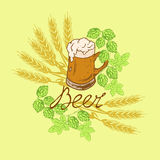 Logo beer. Mug of beer with froth with hop and wheat beer with an inscription in retro styles Stock Photos