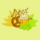 Logo beer. Mug of beer with froth with hop and wheat beer with an inscription in retro styles Royalty Free Stock Photos