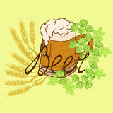 Logo beer. Mug of beer with froth with hop and wheat beer with an inscription in retro styles Royalty Free Stock Photo