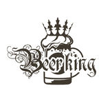 Logo beer mugs with crown and inscription `Beerking`. Illustration Royalty Free Stock Photo