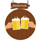 Logo of a beer pub, a banner of a beer pub. Two hands with beer mugs on the background of a keg of beer. Vector illustration royalty free illustration