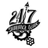 Logo in bianco e nero con sighn di ventiquattr'ore su ventiquattro ed Al Fotografie Stock