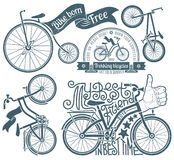 Logo with a bicycle. Lettering in logo with a bicycle. Bikes in vintage style with grunge texture. Grunge texture grouped separately and is easily removed stock photos
