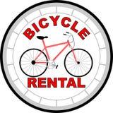 Logo bicycle rental. Bike rental logo in red-gray design Stock Photography