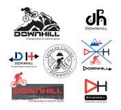 Logo Bike Downhill, logo de vélo de montagne d'isolement Illustration Stock