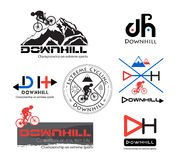 Logo Bike Downhill, Mountainbikelogo lokalisiert Stockfotos