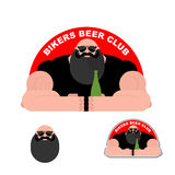 Logo Biker beer Club. Bearded brutal biker. Powerful man Royalty Free Stock Image