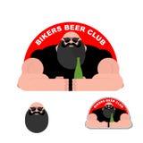 Logo Biker-Bier Club Bärtiger grober Radfahrer Leistungsfähiger Mann Lizenzfreies Stockbild
