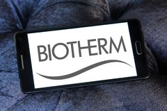 Biotherm skin care company logo. Logo of Biotherm brand on samsung mobile. Biotherm is a French luxury skin care company owned by L`Oréal under the Luxury Royalty Free Stock Image