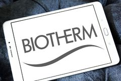 Biotherm skin care company logo. Logo of Biotherm brand on samsung tablet. Biotherm is a French luxury skin care company owned by L`Oréal under the Luxury Royalty Free Stock Photos