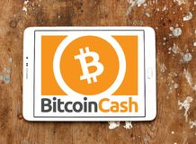 Bitcoin Cash Cryptocurrency logo. Logo of Bitcoin Cash Cryptocurrency on samsung tablet. Bitcoin Cash is a cryptocurrency hard fork of original bitcoin royalty free stock photo