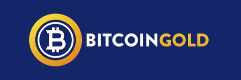 Logo Bitcoin Gold RGB Blue Background royalty free stock photos