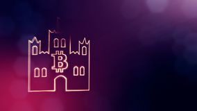 Logo bitcoin inside the emblem of the castle. Financial background made of glow particles as vitrtual hologram. Shiny 3D