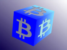 Logo for Bitcoin related business on cube - beveled. Logo on cube for Bitcoin related business on blue background - 3d - beveled Stock Photo