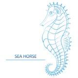 Logo - blåa SeahorseÂŒ arkivfoto