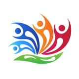 Logo blühen glückliche Swooshesteamwork-Leute Logovektor vektor abbildung