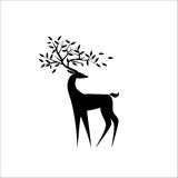 Black deer with leaves on antlers. An illustration of a black deer on white background with leaves on the antlers Stock Images