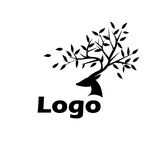 Logo Black deer. On a white background with the leaves on the horns Stock Images