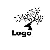 Logo Black deer. On a white background with the leaves on the horns Royalty Free Stock Images