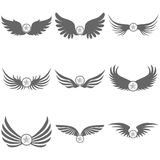 Logo of black wings with a star royalty free illustration