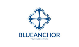 Logo bleu d'ancre illustration stock