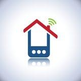 Logo bleu de maison de téléphone illustration de vecteur