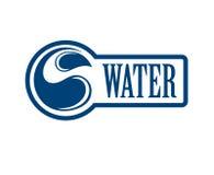 Logo bleu Label pour l'eau minérale Graphisme d'Aqua Image libre de droits