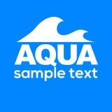 Logo bleu Label pour l'eau minérale Graphisme d'Aqua Photo libre de droits