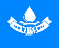 Logo bleu Label pour l'eau minérale Graphisme d'Aqua Image stock