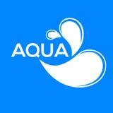 Logo bleu Label pour l'eau minérale Graphisme d'Aqua Photos stock