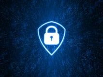 Logo bleu rougeoyant de bouclier sur le fond abstrait de technologie de points Concept de sécurité d'affaires illustration libre de droits