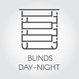 Logo of blinds day-night. Icon drawing in outline style. Vector graphic label Royalty Free Stock Photo