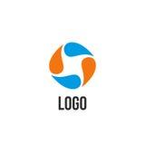logo blu ed arancio astratto del cerchio di gocce Logotype liquido di circolazione illustrazione vettoriale