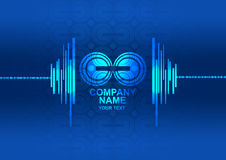 Logo with blue Abstract technology background Royalty Free Stock Images