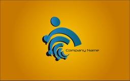 Logo - Blue. Blue logo on extending orange-brown background Royalty Free Stock Photo