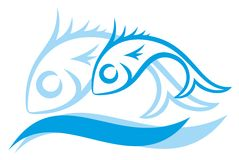 Logo of blue small fishes. A logo of blue small fishes with a sea wave Royalty Free Stock Photo