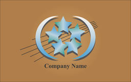 Logo - Blue Stars. Extending blue logo with stars on brown background Stock Images