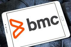 BMC Software company logo. Logo of BMC Software company on samsung tablet. BMC Software, Inc. is an American technology company. BMC produces software and royalty free stock photo