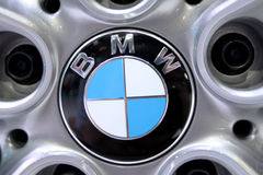 Logo of BMW on wheels Stock Photography