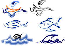 Logo boat and fish Stock Images