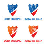 Logo bodybulding with posing athlete on shield stock photography