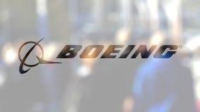 Logo Boeing Company auf einem Glas gegen unscharfe Menge auf dem steet Redaktionelle Wiedergabe 3D vektor abbildung