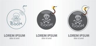 Logo bomb. Contour logo, stroke logo. Vector illustration on gray background Royalty Free Stock Image