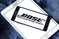 Bose Corporation logo. Logo of Bose Corporation on samusng mobile. Bose Corporation is an American privately held corporation that designs, develops and sells Royalty Free Stock Photos