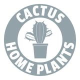 Logo botanique de cactus, style gris simple Photo libre de droits