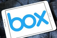 Box company logo. Logo of Box company on samsung tablet. Box is a cloud content management and file sharing service for businesses. The company uses a freemium royalty free stock photos