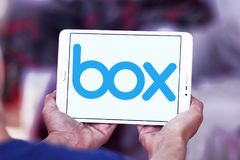 Box company logo. Logo of Box company on samsung tablet. Box is a cloud content management and file sharing service for businesses. The company uses a freemium royalty free stock image