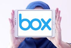 Box company logo. Logo of Box company on samsung tablet holded by arab muslim woman. Box is a cloud content management and file sharing service for businesses royalty free stock images