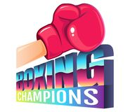 Logo for boxing in 80s style. Vector vintage logo for a boxing with glove. Retro 3D logo for boxing in 80s style Royalty Free Stock Photography